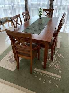 dining table 6 chair siap hantar