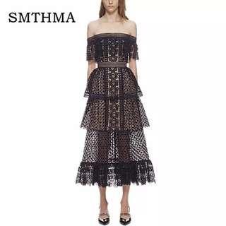 High Quality Runway Dress 2019 New Women Self Portrait Dress Slash Neck Off the shoulder Black Frill Cake Long Lace Dress