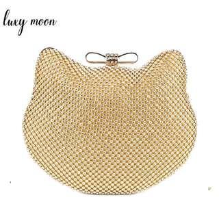 Fashion Luxury Diamond Silver Evening Bags Cat Head Gold Rhinestone Clutch Bow Knot crystal purse glitter bolsa feminina 1272