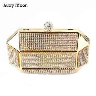 Luxy Moon Designer Clutch Dinner Purse evening bags luxury diamond Gold clutch handbags Iron box evening bags bolsa de festa