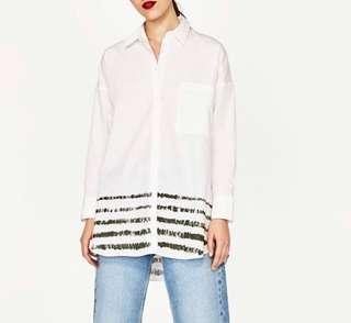 Zara Oversized Shirt with Striped Hem