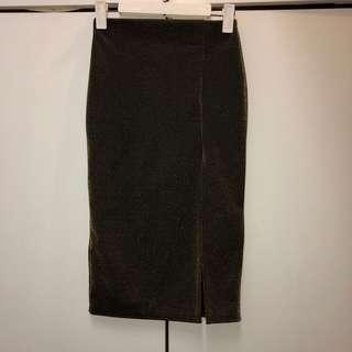 Missguided Shimmery Gold Skirt with Slit