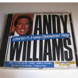 CD ANDY WILLIAMS LOVE IS A MANY SPLENDORED THING 西德版 93%NEW MARIA, AS TIME GOES BY, MOON RIVER