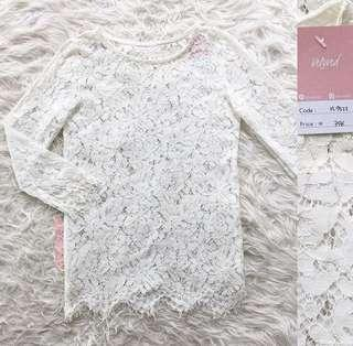 VL9323 Korean white lace sleeve top
