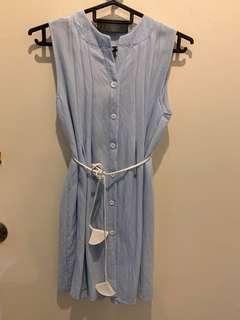 Blue button shirt dress with waist tie