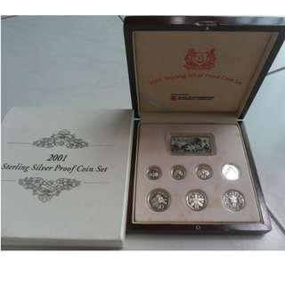 2001 Singapore Silver Proof Coin Set (1¢ - $5 Coin)