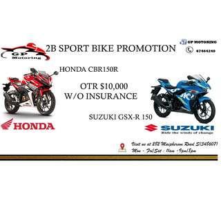 HONDA CBR150  AND  SUZUKI GSX-R150