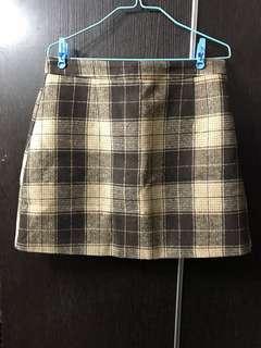 秋冬款 杏啡色格仔半截裙 半身裙