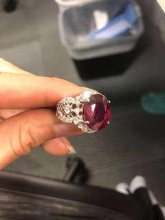 Super large heated only (no glass fill!) 8.61 carat natural red ruby with cert!