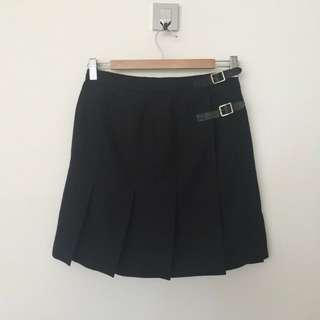 TOPSHOP Black Pleated Buckle Skirt, Size 10
