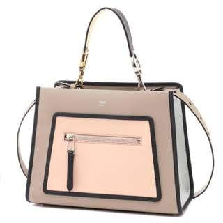 57dff7116ad221 Fendi Shopping Bag Runaway Calf Dove Soap Pearl Gray Beige Two Toned Tote  Handbag