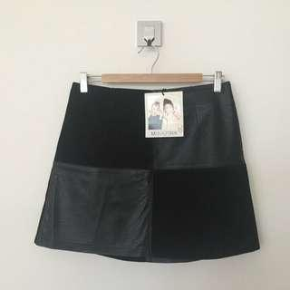 NEW Minkpink Faux Leather Suede Black Mini Skirt, Size M