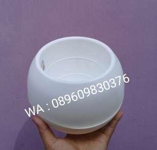 Pot Bulat | pot Putih | Pot Tanaman Model Telur