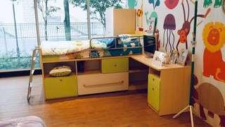 kids bed, table and wardrobe set