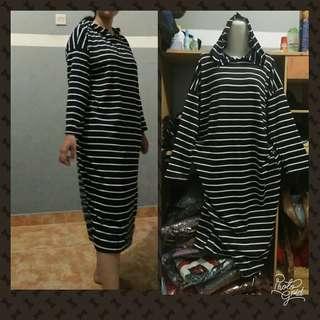 Dress/tunik salur hitam
