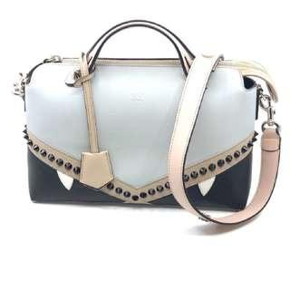 Fendi Boston Bag Calf Leather Two Toned Pearl Gray Cloud Creature Studded Cross Body Handbag