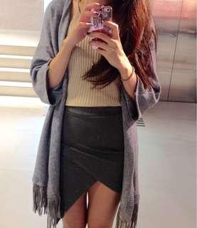 🚚 灰色針織流蘇罩衫針織外套針織上衣長版罩衫外套#半價衣服市集