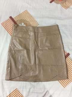 Nude faux leather skirt