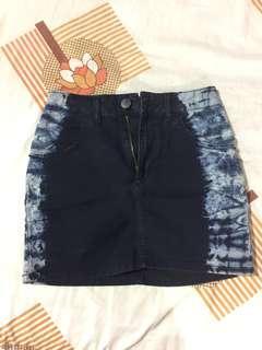 Topshop acid washed denim skirt