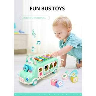 Multi-functional Baby Toy Bus Xylophone Shape Matching Bead Toys
