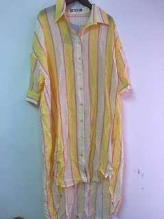 🚚 長板鵝黃粉白三色直條 前短後長罩衫