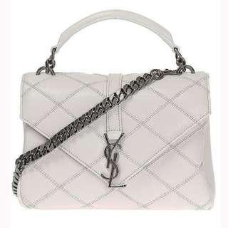 Saint Laurent YSL White Quilted College Monogram Shoulder Handbag