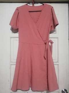 Blush Pink Wrap Dress