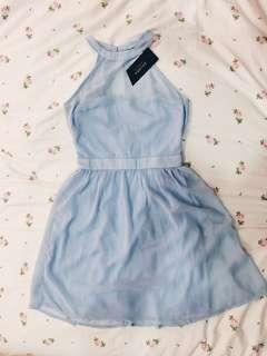 [ BNWT ] ZALORA Baby Blue halter neck  bridesmaid Dress #STB50
