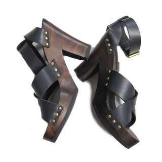 Mango Leather Block Heels
