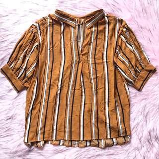brown striped top ~ baju jadul/vintage cokelat motif garis-garis hitam putih