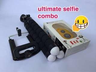 🚚 Selfie Toolkit (tripod + phone holder + remote shutter)