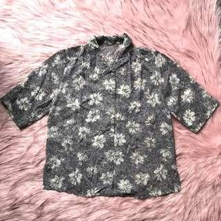 fashlon vintage shirt ~ baju atasan kemeja jadul abu-abu motif bunga putih