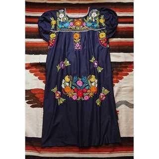 Vintage 美式古著墨西哥手繡滿版花朵洋裝 手繡Mexico洋裝  夏日花卉