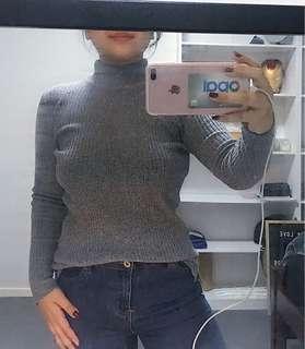 Ribbed Grey Collared Knit