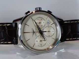 Longines Flagship~ 浪琴錶 古典旗艦 ~機械自動計時 ~automatic chronograph ~不連冠的約41mm~ 罕有全新NOS, full set. Ref 14857