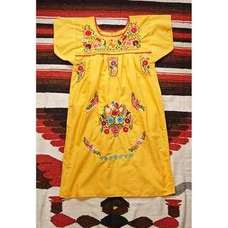 Vintage 美式古著 墨西哥手繡滿版花朵洋裝 手繡Mexico洋裝 小尺寸  夏日花卉
