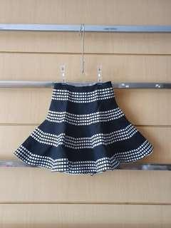 Trumpet Black & White Stretch Knit Mini Skirt