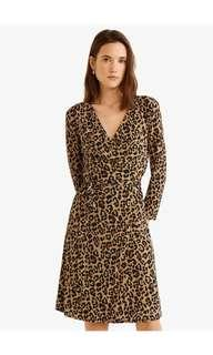 New! mango leopard tie waist dress