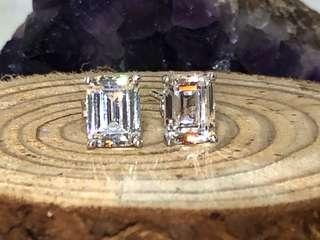 Emerald cut CZ stud earrings in silver 925