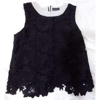 Black top with lace pattern