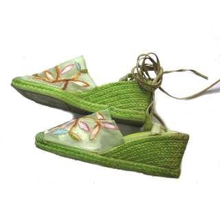 Spain Green Embroidered Ankle Tie Espadrilles