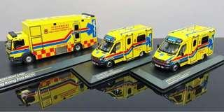 1:43 Tiny 消防處黃色救護車/ 流動傷者治療車 Ambulance A501 A502 A802 MCTC Mobile Casualty Treatment Centre