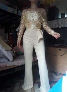 Custom made nude longsleeves formal lace jumpsuit
