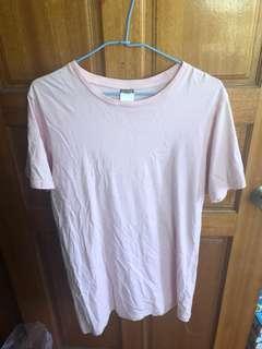 🚚 粉色素色長版T恤