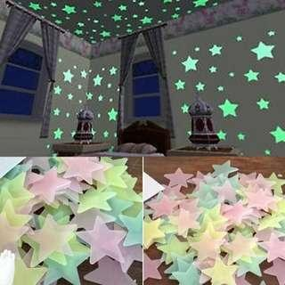 100Pcs Color Stars Glow In The Dark Star Stickers Kids Baby