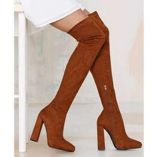 NEW Jeffrey Campbell Isolate Thigh High Boots, Tan Camel Faux Suede, 7 RRP $250
