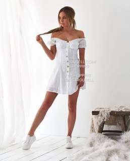 🚚 2 Way White Off Shoulder Button Down Dress