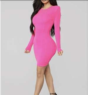 Women's long sleeve hot pink mini dress small