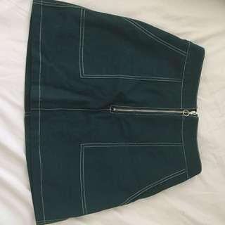 Green contrast stitch skirt