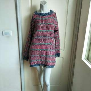 🚚 【onsale】藍綠紅條紋粗呢針織長袖長版上衣.短洋裝連身裙